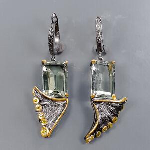 Wholesale jewelry Art Green Amethyst Earrings Silver 925 Sterling   /E58135