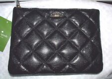 KATE SPADE BLACK QUILTED LEATHER LIBERTY STREET LITTLE GIA CLUTCH BAG NWT
