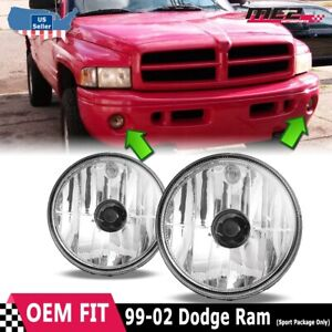 For Dodge Ram 99-02 Factory Bumper Replacement Fit Fog Lights DOT Clear Lens