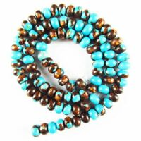 """6x4mm Turquoise Gold Copper Bornite Rondelle Loose Bead 15.5 """" 27g A-616DHS"""