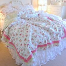SHABBY BEACH COTTAGE CHIC DREAMY PINK ROSES RUFFLE TWIN QUILT SET APRIL CORNELL