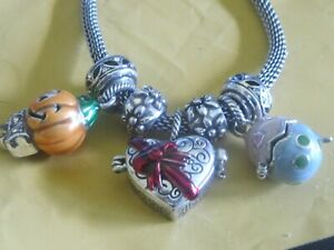 BRIGHTON  NECKLACE WITH CHARMS THAT OPEN HEART  EASTER EGG PUMPKIN