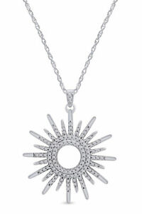 Simulated Diamond Sunburst Pendant Necklace For Women's In 10k Solid Gold