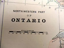 1891 Color Tinted Geo Cram Map North Western Part of Ontario Be Great Framed