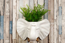 2 in 1 White Faux Taxidermy White Elephant Gold Tusks Pot Wall Hanging Plant Pot