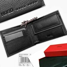 HUGO BOSS WALLET Slim-Fold 'MILET' BI-FOLD BLACK GRAINED LEATHER COIN POCKET