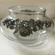 """Glass Lily Bowl Vase 5.5"""" x 3"""" Flower Bowl Clear Color w Pewter Angel Decoration"""