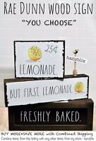 "Rae Dunn Wood Sign Tabletop COFFEE BAR LEMONADE ""YOU CHOOSE SIZE"" NEW '20-21"
