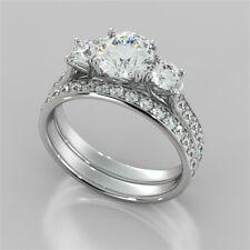 2.76 Ct 3 Stone Diamond Engagement Ring 14K White Gold Wedding Band Set Size N O
