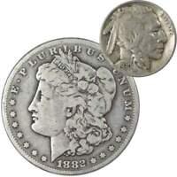 1882 S Morgan Dollar VG Very Good 90% Silver with 1930 S Buffalo Nickel F Fine