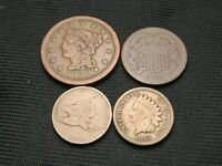 1858 Flying Eagle copper nickel, 1863 Indian, 1852 Large Cent, 1864 two cent