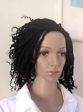 "10"" Hand Made Kinky Twists Braided Wig. Black Made With Premium Kinky Hair."