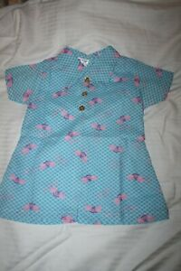 Vintage Girls Dress Or top  Size  2 - 4 Blue with Bees Unwarn