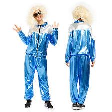 Mens Ladies Retro 80s 90s Metallic Shell Suit Tracksuit Chav Fancy Dress Costume