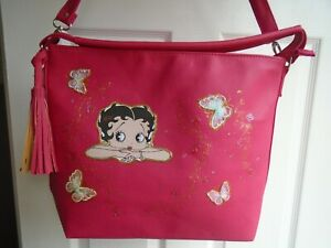 """NEW LARGE PINK  """" BETTY BOOP   """" PICTURE   SHOULDER BAG"""