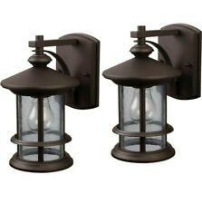 Set 2 Tree House Cabin Oil Rubbed Bronze Outdoor Wall Light Clear Seeded Glass