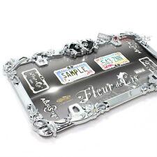 Fleur de lis Metal Chrome License Plate Tag Frame for Auto-Car-Truck