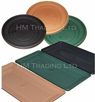 UK Made Plastic Garden Window Box Plant Pot Water Saucer Base Tray In/Out Door