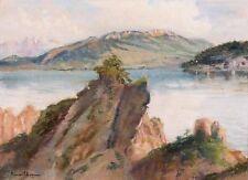 Pierre CHAPUIS  1863 - 1942 - '' Le Lac du Bourget vu de la Dent du Chat ''.