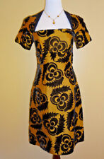Women's Prada Velvet/Silk Two Tone Black/Yellow Contrast Dress in size 42 (6 US)