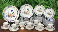 MIKASA Heritage Antiquities Dinnerware 37 Pieces Floral w/ Blue Trim F2008 EUC