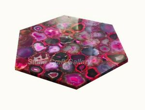 "18"" Pink Agate table Top Marble semi precious stones Art home decor"