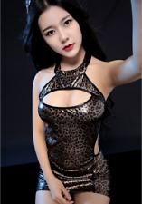 Mini Vestido Sexy Estampado De Leopardo Pvc Vinilo PVC Imitación Ropa de club Falda Uk 8-12