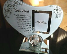 Glass Memorial Her Smile Bereavement Heart Photo Frame Tea Light Candle Holder