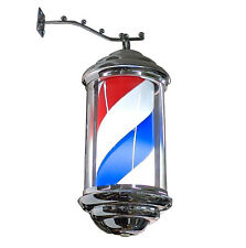 Silver frame red white blue LED barber pole. Wall hanging. Decorative 35cm
