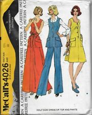 VTG 70's McCall's Pattern Misses' HALF-SIZE DRESS or TOP & PANTS sz 12-1/2