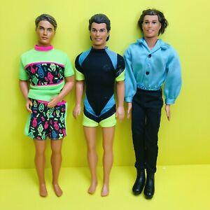 VINTAGE KEN DOLL LOT, 3 Dolls, 90s Brunette Ken Dolls Mattel Barbie Doll Lot TLC