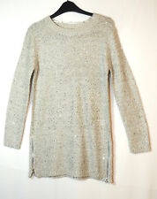 GREY LADIES CASUAL LONG JUMPER SEQUIN SIZE 8 ATMOSPHERE