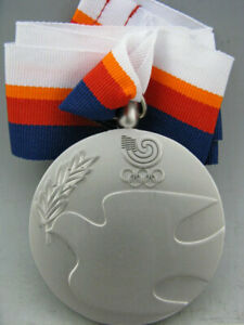 1988 Seoul South Korea Olympic Silver Medal With Ribbons & Stand Free Shipping