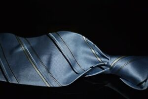 Ermenegildo Zegna Sky Blue Woven Satin Ribbed Alternating Stripe Silk Tie Italy