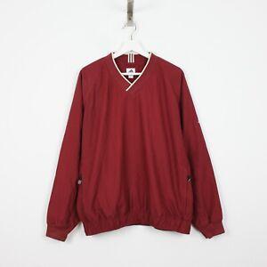 V34 Vtg Adidas 00's Men Red Burgundy Shell Jumper Windbreaker Pullover Size M