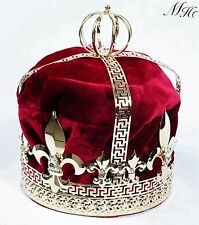 Red Velvet Imperial Medieval Crown King Pricne Men Tiara Pageant Party Costumes