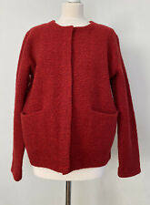 Cos Red 100% Wool Jacket Cardigan Button Poppers Size Large Uk 18 Autumn