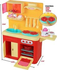 "18"" Doll Kitchen Play Station with Accessories, Lights and Sounds-Perfect"