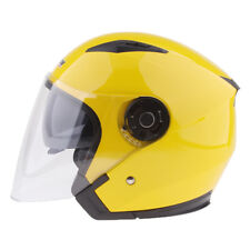 3/4 Open Face Motorcycle Helmet Retractable Visor Solid Yellow XL