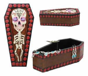 Day Of The Dead Sugar Skulls Gothic Skeleton Bones Vampire Coffin Jewelry Box Dr