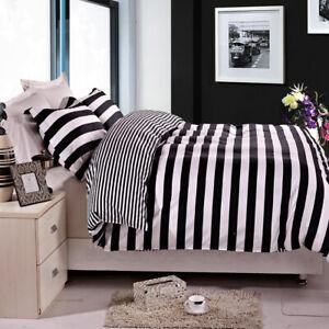 Microfiber Black and White Stripe Duvet Comforter Cover Set Twin Queen King