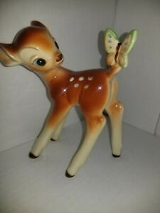 Vintage Bambi Ceramic Figure With Butterfly On Tail By Disney (Japan)