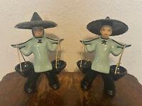 "Pair of 2 Vintage Japanese Porcelain Ceramic Peasant Water Carrier Statues - 8"""