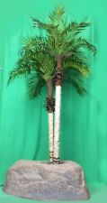 Artificial Uv Rated Outdoor 7' Two Trunk Phoenix Palm Tree with Lg Rock Planter