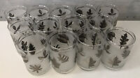 "1960's Vintage Libbey Silver Leaf Glasses Barware 4.5"" Tall Set Of 13"