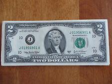 """US """"Birthday"""" $2 Dollar Bill **September 1956 Serial Number """"J019569XXA"""""""