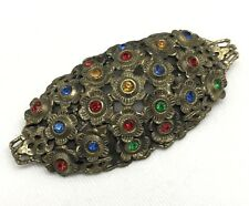 Vintage Multi-Color Rhinestone Antique-Finish Brooch Pin, Costume Jewelry (RF670