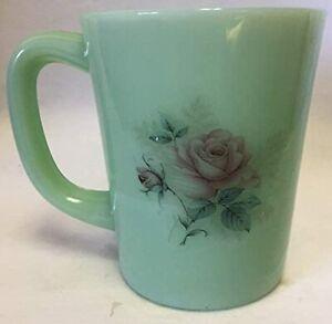 Coffee Mug w/ Roses - Jade Jadeite Jadite Green Glass - Rosso Exclusive - USA