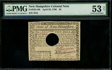 Us Colonial Currency New Hampshire Note Fr# Nh-180 Aprl 29,1780 $2 Pmg 53 Net Au