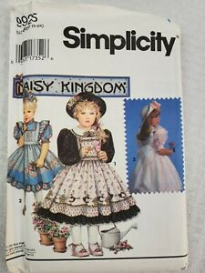 1992 Simplicity 9925 Daisy Kingdom Child's Dress and Pinafore Size 5-6-6X- New